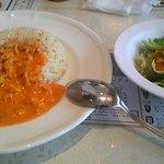 マトリョーシカ - 細切りチキンのストロガノフとサラダ