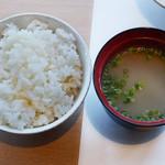 尾崎牛焼肉 銀座 ひむか - ライス、牛筋スープ