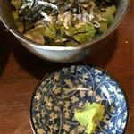 そば茶屋付知店 - 野沢菜ごはんは、しらす入り