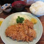 梅月 - 地鶏チキンかつ定食_2015/08