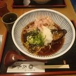 京のそば処 花巻屋 - 冷やしにしんそば。冷たいそばの上に温かい甘露煮の鰊が。
