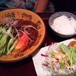 ふじわら - ジャージャー麺から揚げライスセット¥880