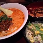 ふじわら - 坦々刀削麺ソースカツ丼サラダセット¥880