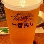 肉のオカヤマ直売所 - 生ビール 300円