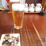 塩らー麺 本丸亭 - 生ビール450円とチャーシュー小皿