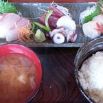 ほほほの北海道 - 特選お刺身定食1,000円全景