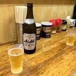 一麺 - まずは瓶ビールで乾杯!