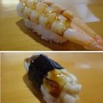 村庄寿司 - ◆海老・・これも煮切りが塗られています。 ◆あげ巻貝・・大きな品で美味しい。ツメもいいお味ですよ。