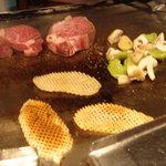 546282 - 信州牛のヒレ肉・、ジャガイモのゴーフレット、焼き野菜