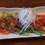 からふぇDINING - 万願寺唐辛子の肉詰め  トマトあんかけ