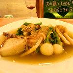 ミュスカ - 骨付鶏とたっぷりきのこのオニオングラッセ煮野菜添え