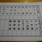 奥寿し - ランチスペシャル用の注文シート