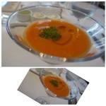"""54615701 - ◆小さな前菜""""ストゥッツィキーニ """"                       ガスパッチョですね、ペッパーが効いていました。"""