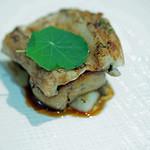 54619876 - Antipasto2:長崎産穴子とフォアグラのミルフィーユ仕立て マルサラ酒を使った甘味のあるソース