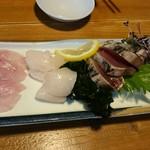 イソノサザエ - お刺身3種盛り(カツオくんとワカメちゃん)
