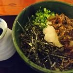 彦庵 - 清水森ナンバおろし蕎麦 1,200円 辛さの中にも旨味のある清水森ナンバ(唐辛子)をペースト状にして乗せてます。大根の辛みと清水森ナンバの辛みの饗宴で他では味わえないぶっかけそば。オススメです。