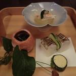 54640301 - 前菜:毛蟹と冬瓜白煮                       カマス棒寿司 他