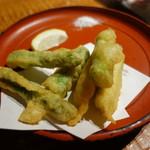 北海道まるごとダイニングうまいっしょ - 2016.08 アスパラ天ぷら