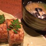酒肴家 - 2016年8月10日お任せコース⑨寿司とシジミ味噌汁