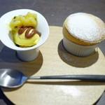 Sincere + - パッションフルーツのスフレと、  マンゴーのアイスクリーム、クランブル