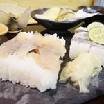 54670248 - 本日の押し寿司定食は太刀魚とあこうだい
