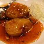 福満園 - 茄子のエビ・肉詰め香り辛子ソース