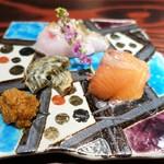 野口太郎 - のどぐろの藁焼き   北海道 桜鱒   皮ちくわ   山わさび醤油漬け