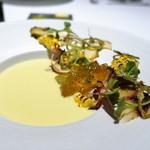 ALLIE - 山梨県産トウモロコシのクレームとさざえ、冬瓜、フォアグラ