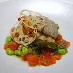 54676976 - 愛媛県産鱧のムニエル 夏野菜のソース・アンティボワーズ