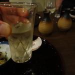 美酒美食 平田 - ◆「喜凱陣」。ガツン!! と、来ました~。これは、〆の酒にピッタリの絶品酒 。       酒に弱い嫁も一口、美味しいわ~