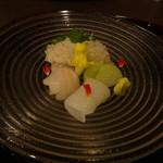 美酒美食 平田 - ◆ 熟成魚のお造り。・淡路沼島のハモ (かるく炙りで)       ・はた       ・剣先イカ