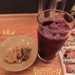 さかなや - 信州ぶどうジュース(350円)とアサヒスーパードライ エクストラゴールド(450円)で乾杯〜( ^ ^ )/□
