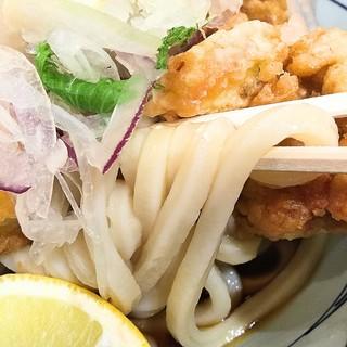丸亀製麺 SUNAMO店 - タル鶏天ぶっかけ並 うどんアップ