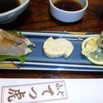 てつ虎 - 前菜三種盛り(真鯛刺身、玉子焼き、国産松茸天ぷら)