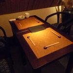 黒猫夜 - こちらのテーブル席に通されました☆