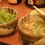 元祖なべ餃子 ぴん - 水菜かすうどんと基本のかすうどん