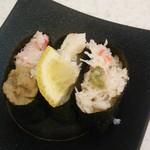かっぱ寿司 - かっぱ寿司@都岡 かに3種食べ比べ軍艦 2015年12月