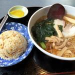 あんず亭 - 料理写真:しょうゆラーメン450円にAセット(半チャーハン)+300円