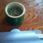 玄鹿 - 水蕎麦。冷水に蕎麦が浮いている。玄鹿さんの神髄をまず味わえるというもの。