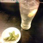 川崎餃子樓 - レモンサワーとお通しの枝豆