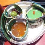 54776543 - 抹茶杏仁・白玉だんご・ほうじ茶寒天、三者三様の味わい。パフェに比べ甘さ控えめで、バランスが取れている
