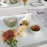 54785934 - 前菜5種とスパークリング「のぼ ブリュット2013」                       セビーチェのジュレとマスカルポーネのムースがおいしかった。