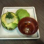 ハイタニ - アボガド冷製二種(¥480)