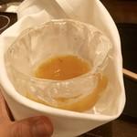 招福樓 - 氷の器は仲居さんが布で巻いてくれます。