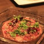 イルピノーロ スカイテラス - くぬぎ鱒の燻製トマトサルサソース コリアンダー風味(1800)