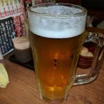 鳥いってつ - 乾杯後の生ビール