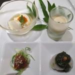 創作和食・銀座 KUSHIMA - 自家製クリーム豆腐(いくら・山葵のせ) 本日の三種盛り 里芋バジル 砂肝のピリ辛 自家製白南瓜のすり流し