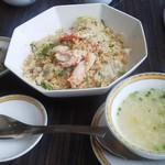 54829435 - 8月14日昼 蟹レタス炒飯とスープ