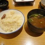 銀座 ハゲ天 - たこ飯とみそ汁
