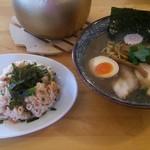 オサカナトンチャン - 料理写真:魚介とんこつ 濃口(並)+しゃけマヨ半ちゃん:840円+330円
